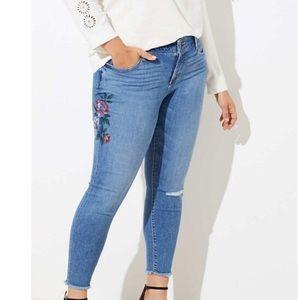 LOFT | Raw Hem Floral Painted Skinny Jeans | 10